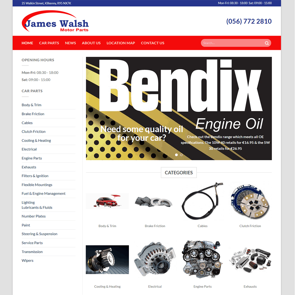 James Walsh Motor Parts – New Website Launched